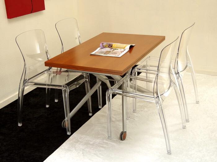 リフティングテーブル ダイニングセット デザイナーズチェア4脚セット