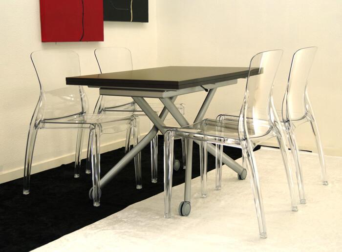 木製天板 リフティングテーブル イタリア製デザイナーズチェア4脚ダイニングセット