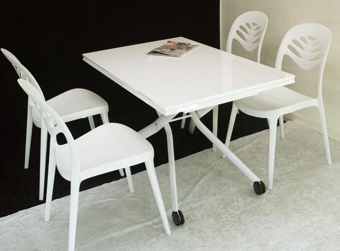リフティングテーブル 白いダイニングセット