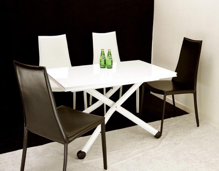 デザイナーズテーブルセット 白いテーブル ハイバック椅子4脚セット