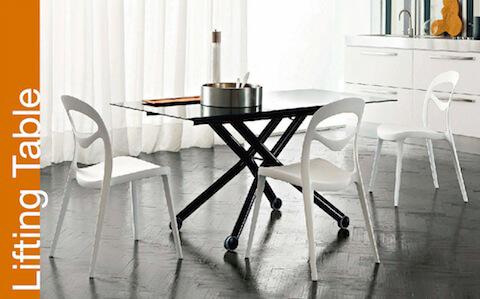リフティングテーブル イタリア製 木製テーブル ガラス製リフティングテーブル 伸長式