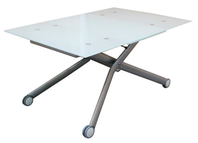 イタリア製 伸長式 リフティングテーブル すりガラス ガラス製天板 高級