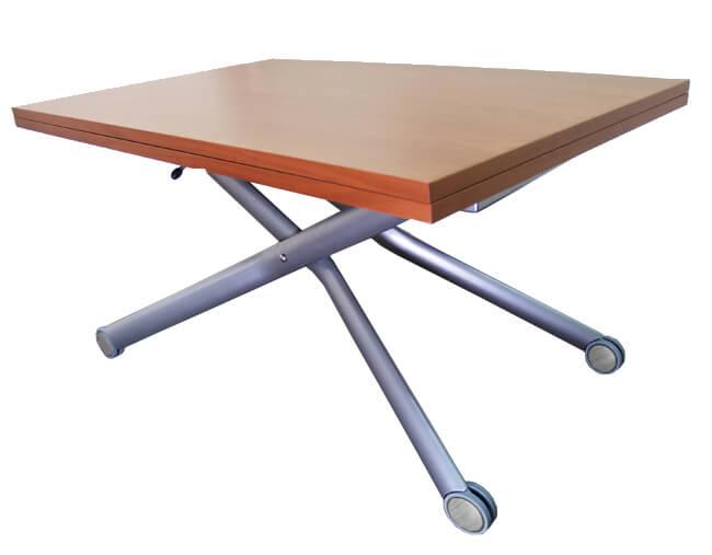 イタリア製 リフティングテーブル 安定感のある昇降式テーブル 赤茶色 ブラウン色