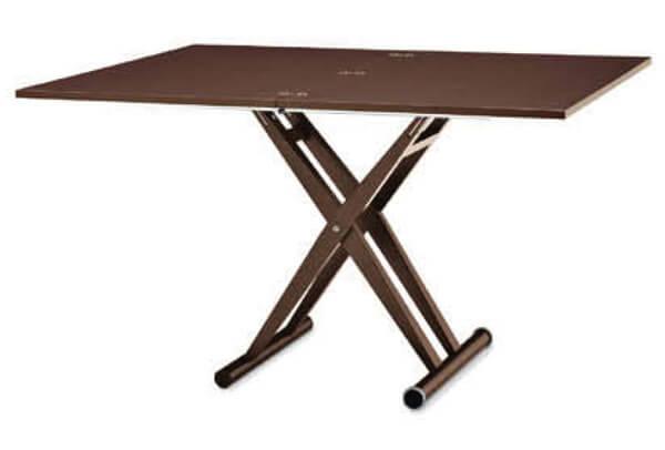 木製脚 リフティングテーブル イタリア製 デザイナーズ 木製天板 天板が広がる昇降テーブル こげ茶色
