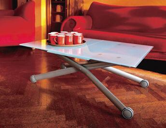 オシャレなガラス天板 リフティングテーブル 天板が大きくなる リフティングテーブル