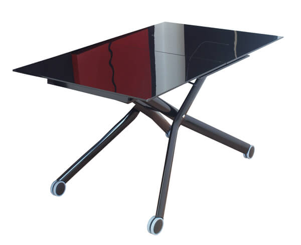 イタリア製 伸長式 リフティングテーブル 黒い ガラステーブル