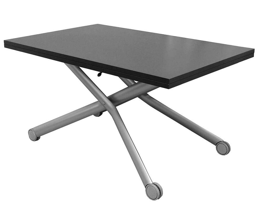 伸長式 リフティングテーブル 天板に天然木を使用した高級感のあるデザイナーズ昇降テーブル こげ茶色