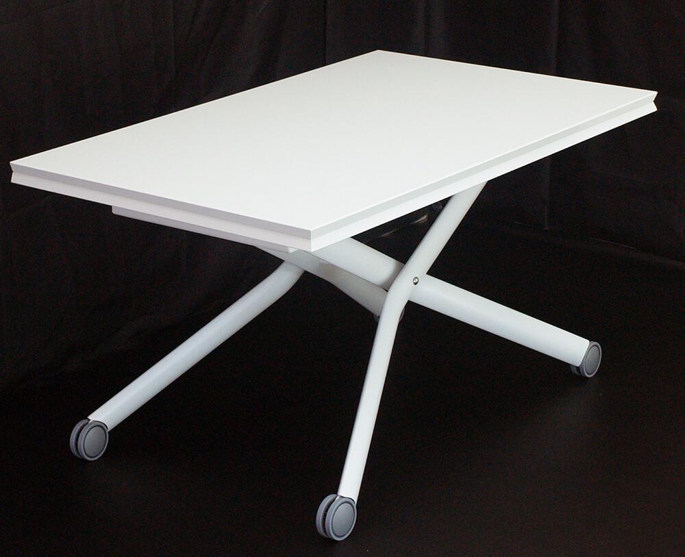 リフティングテーブル 白い鏡面塗装 デザイナーズテーブル 伸長式テーブル