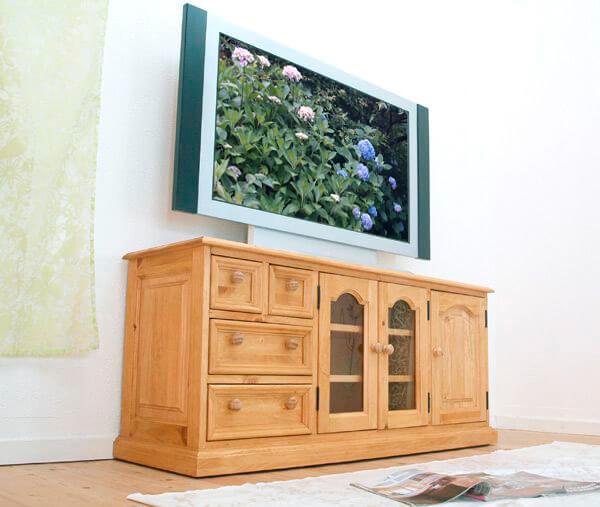 カントリー調 無垢木製 60cm高さのテレビボード