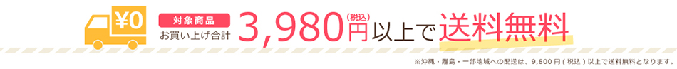 対象商品お買い上げ合計3,980円(税込)以上で送料無料