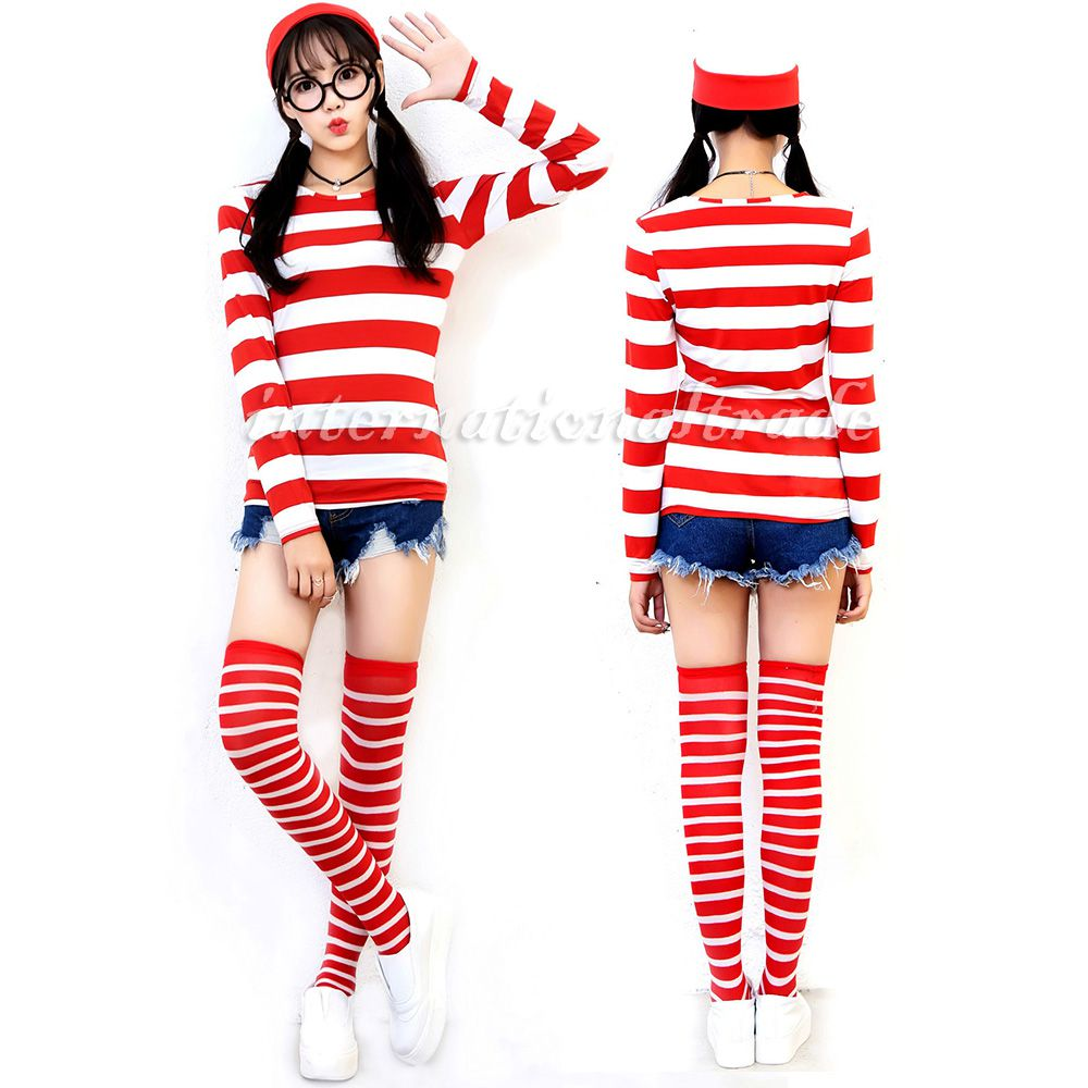 ハロウィンに☆赤白ボーダーのしましまトップス&帽子