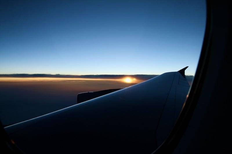 飛行機から見た太陽