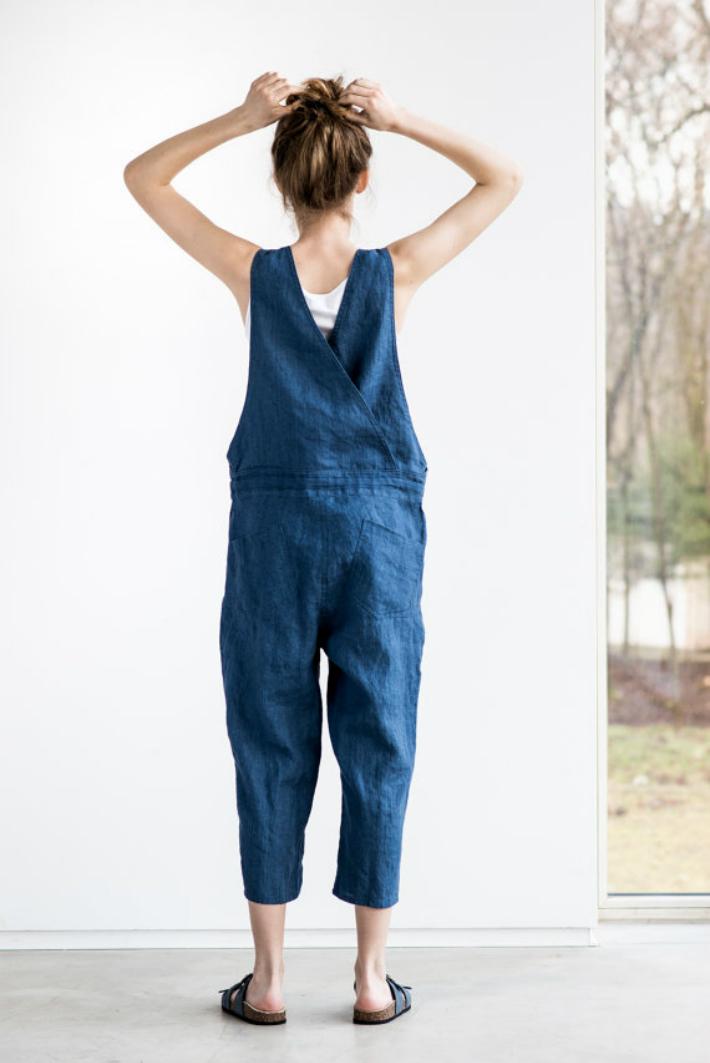 not perfect linen loose linen jumpsuit denim hafen. Black Bedroom Furniture Sets. Home Design Ideas