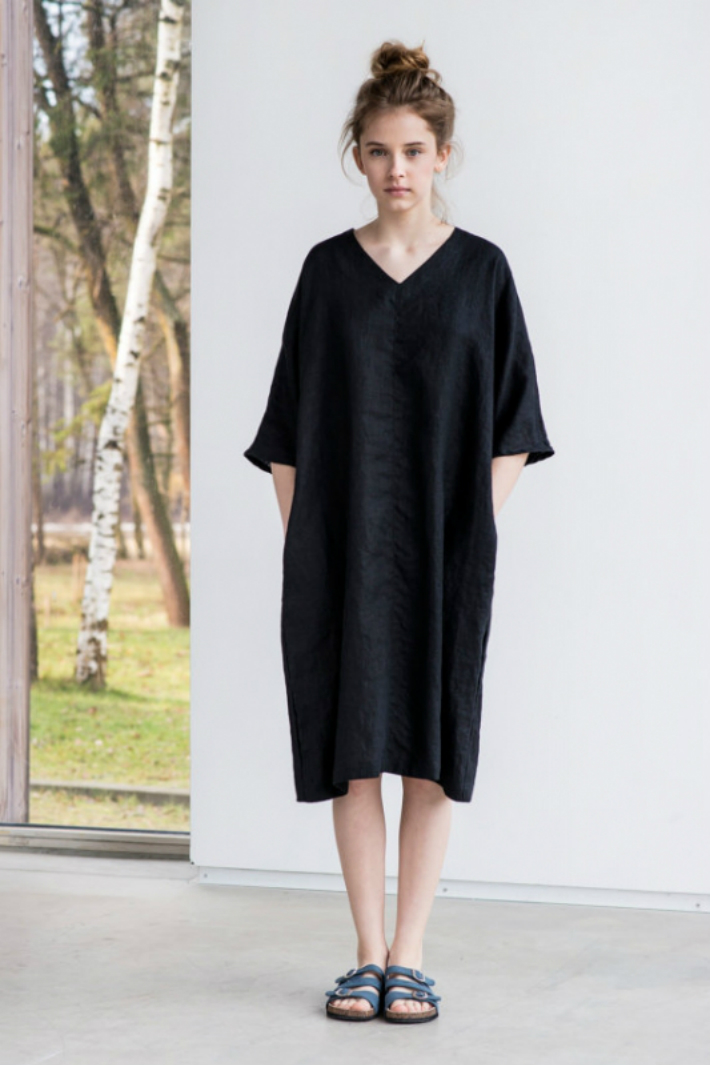 not perfect linen washed linen kimono tunic deepest black hafen. Black Bedroom Furniture Sets. Home Design Ideas