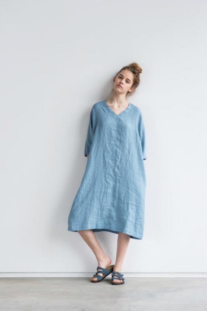 not perfect linen washed linen kimono tunic swedish blue 95cm hafen. Black Bedroom Furniture Sets. Home Design Ideas