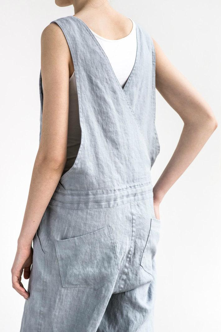 not perfect linen loose linen jumpsuit washed silver uk8 hafen. Black Bedroom Furniture Sets. Home Design Ideas