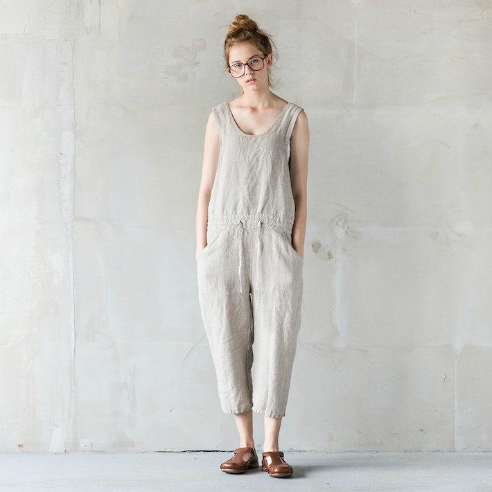 not perfect linen loose linen jumpsuit natural uk8 hafen. Black Bedroom Furniture Sets. Home Design Ideas