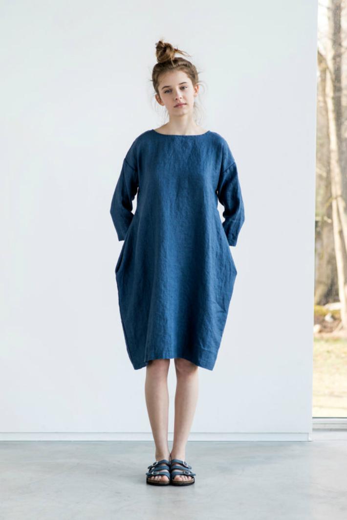 not perfect linen linen cocoon dress denim 90cm hafen. Black Bedroom Furniture Sets. Home Design Ideas