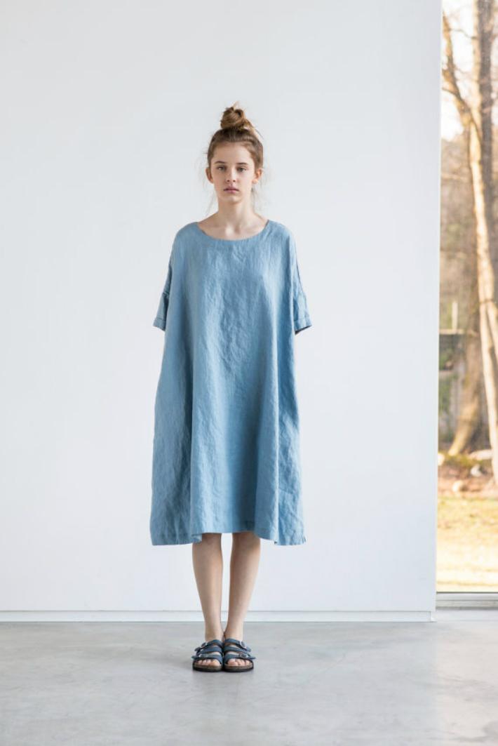 not perfect linen oversized loose linen summer dress swedish blue hafen. Black Bedroom Furniture Sets. Home Design Ideas