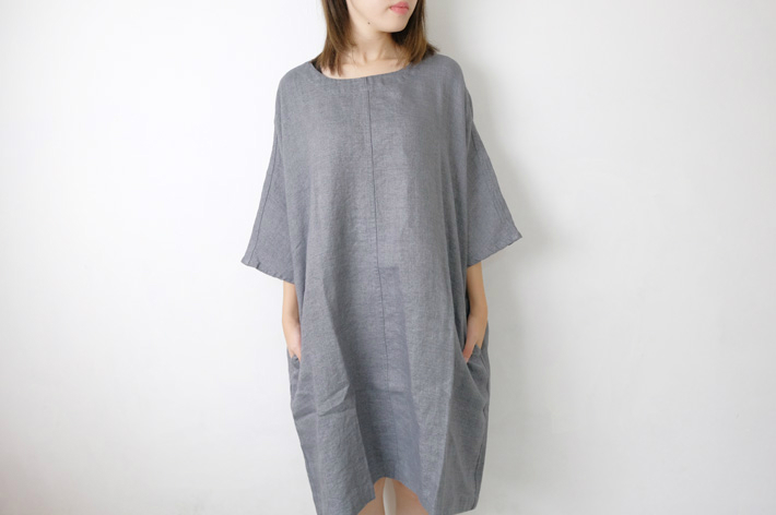 not perfect linen washed linen kimono tunic grey linen wool blend round neck 95cm. Black Bedroom Furniture Sets. Home Design Ideas