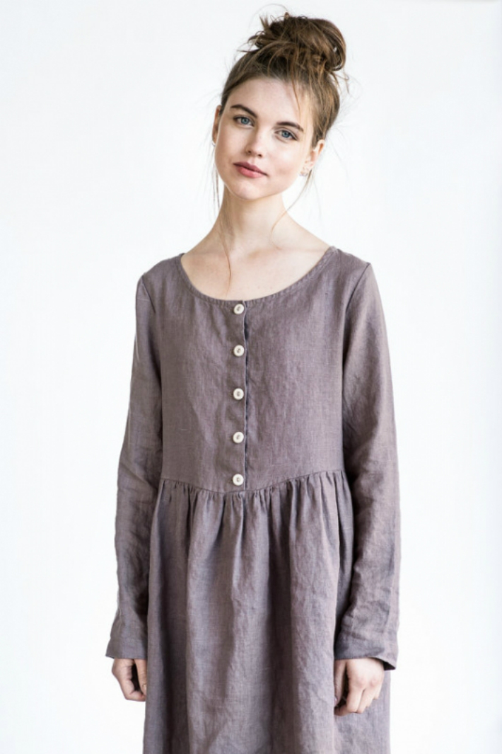 not perfect linen linen loose mama dress with long sleeves and front buttons purple. Black Bedroom Furniture Sets. Home Design Ideas