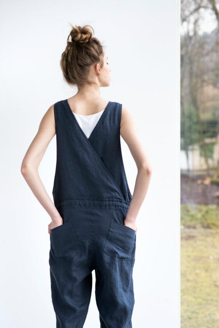 not perfect linen loose linen jumpsuit charcoal hafen. Black Bedroom Furniture Sets. Home Design Ideas
