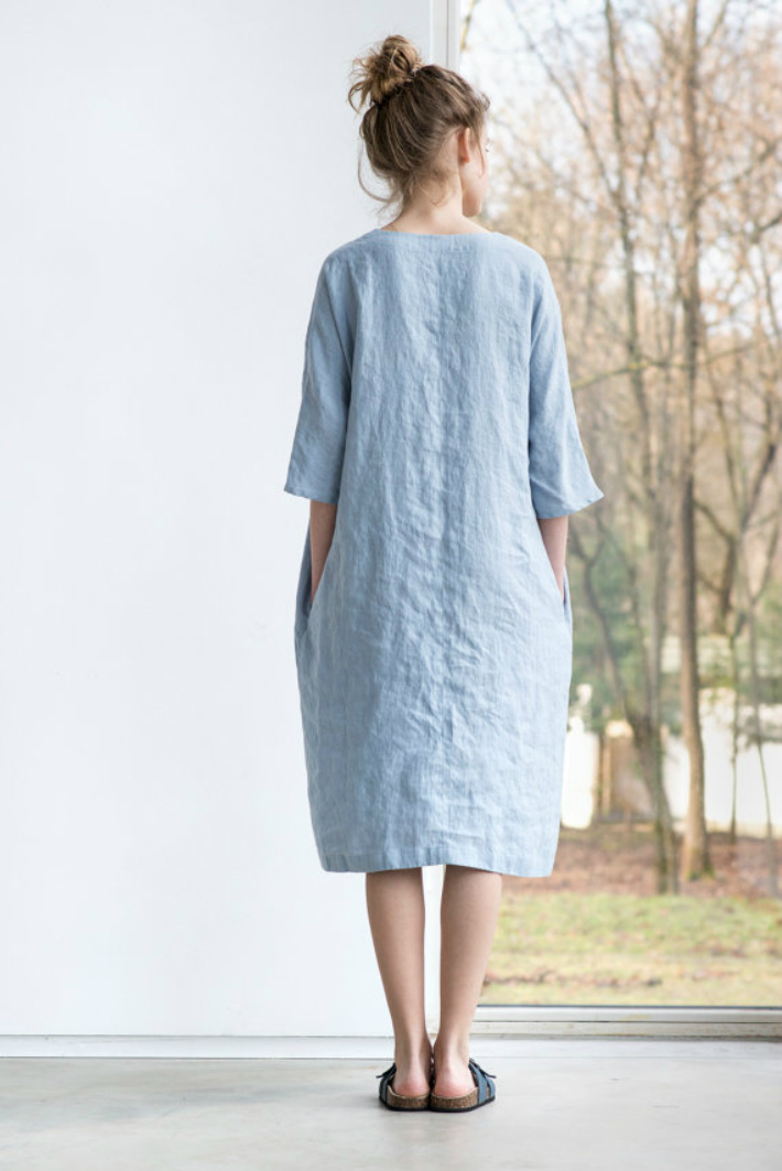 not perfect linen washed linen kimono tunic bluish grey 90cm. Black Bedroom Furniture Sets. Home Design Ideas