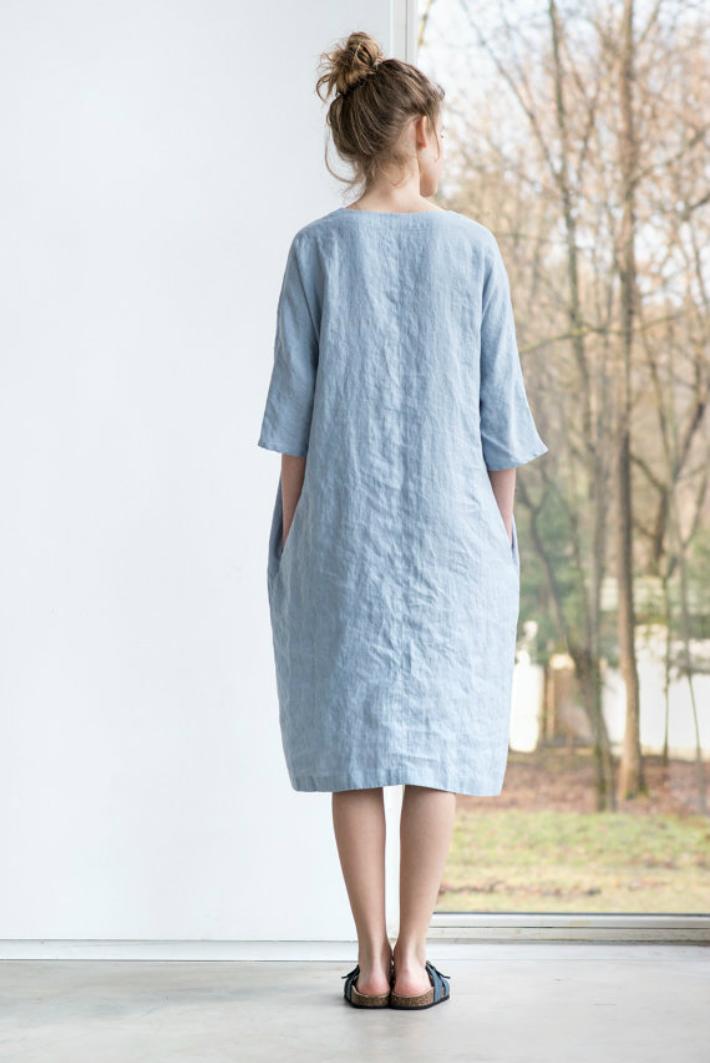 not perfect linen washed linen kimono tunic bluish grey 90cm. Black Bedroom Furniture Sets. Home Design Ideas