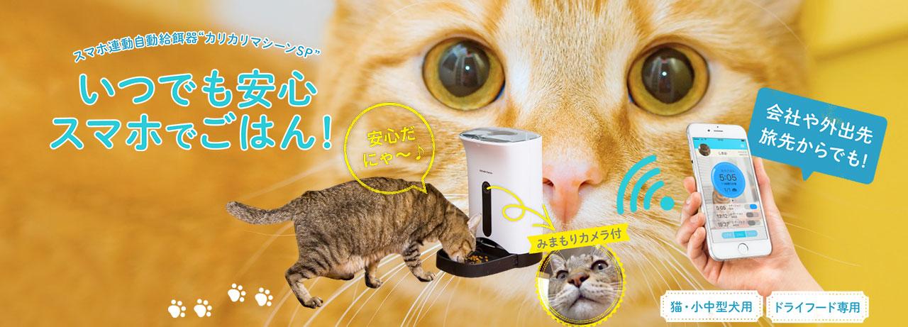スマホ遠隔操作型犬猫用自動給餌器 カリカリマシーンSP