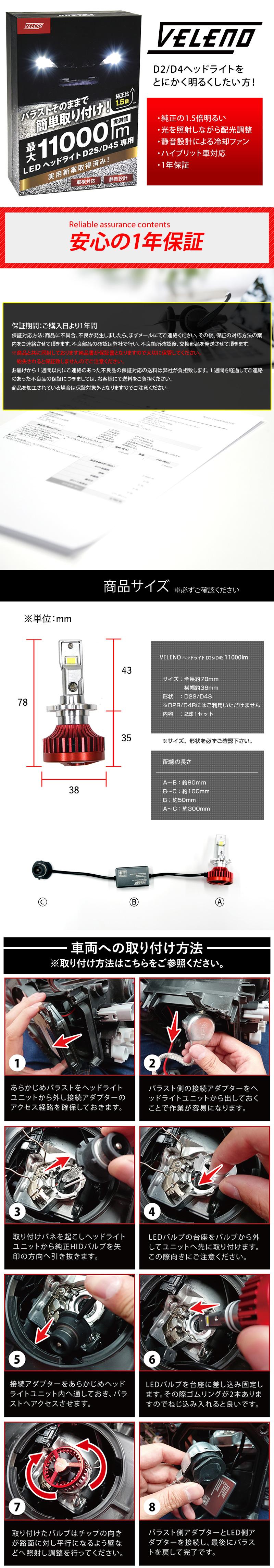 LEDヘッドライト,VELENO,D2S,D4S,最大11000lm ,LED,ヘッドライト,とにかく明るい,爆光,実用新案取得済み,送料無料,1年保証