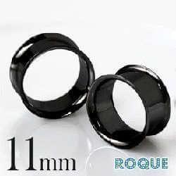 ボディピアス 11mm 定番 ブラック シンプルダブルフレアアイレット
