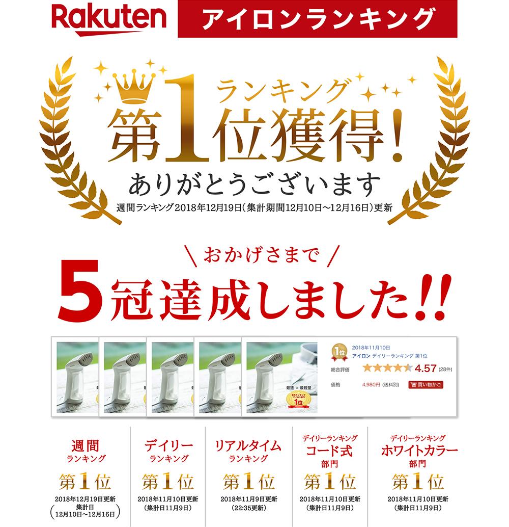 Rakuten アイロンランキング 第1位獲得!