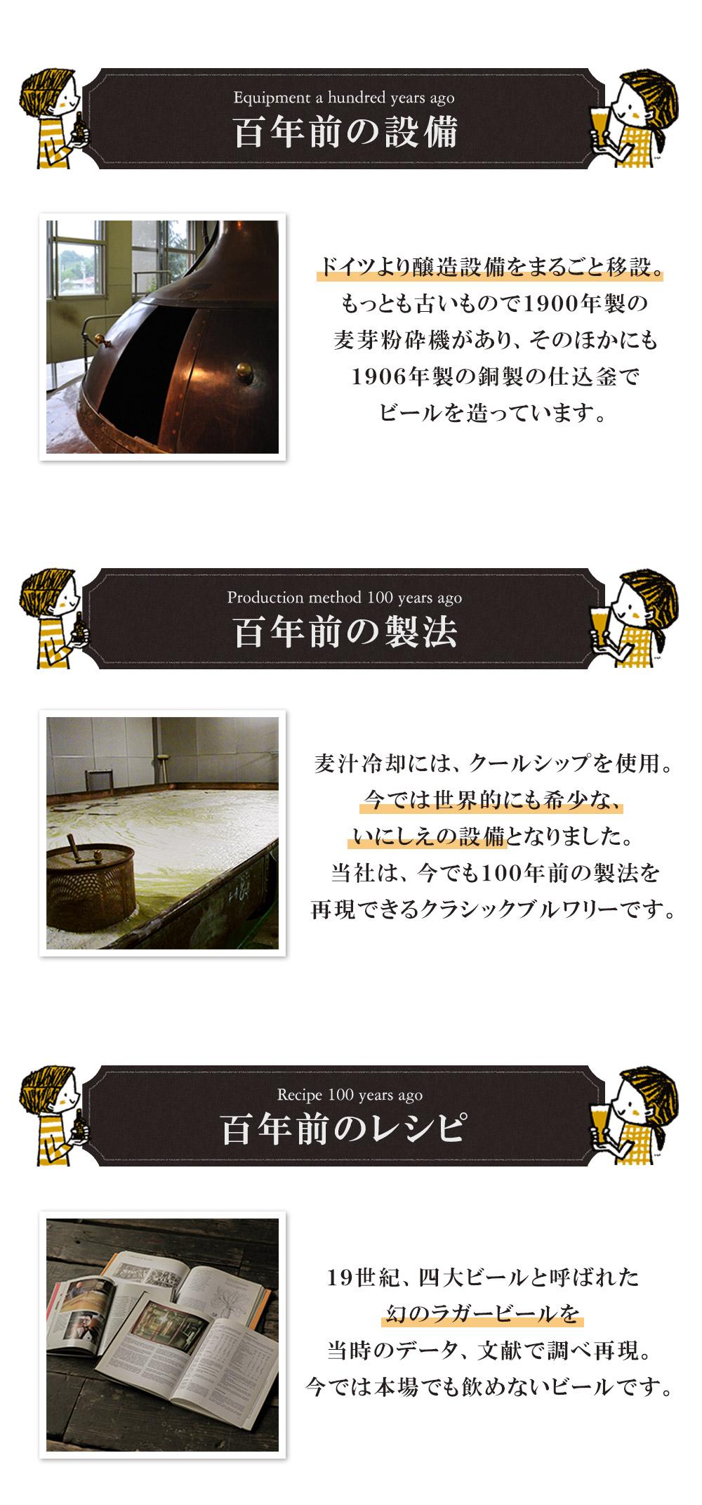 百年前の製法。麦汁冷却に、日本では当社しかないクールシップを使用。世界的にも稀少な設備で100年前の製法を再現しました。