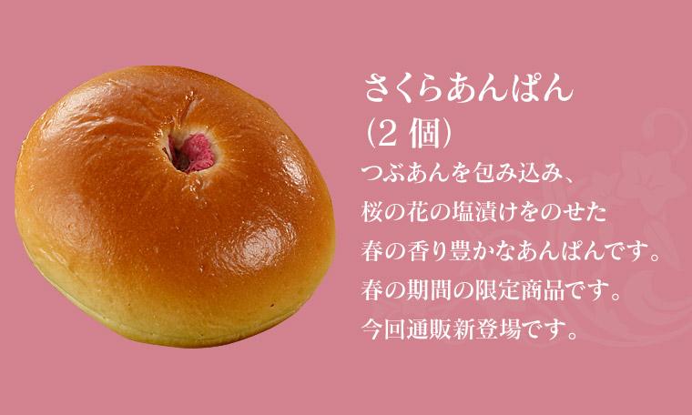 【さくらあんぱん(2個)】つぶあんを包み込み、桜の花の塩漬けをのせた春の香り豊かなあんぱんです。春の期間の限定商品です。