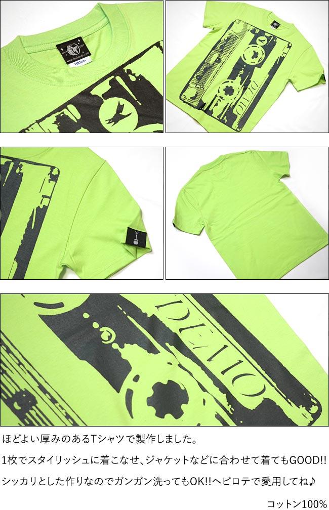 Demo Tape デモテープ Tシャツ ライムグリーン 半袖 トップス カセットテープ ロックTシャツ バンド 音楽 デザイン アメカジ カジュアル