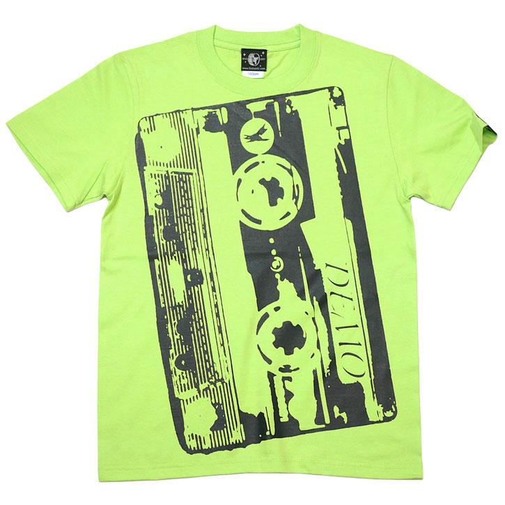 Demo Tape デモテープ Tシャツ ライムグリーン 半袖 トップス カセットテープ ロックTシャツ バンド 音楽 デザイン アメカジ カジュアル かっこいい おしゃれ メンズ レディース ファッション 大きめサイズ 緑色 春夏秋コーデ XXSMLサイズ 通販 ショップ Tシャツ屋さんバンビ