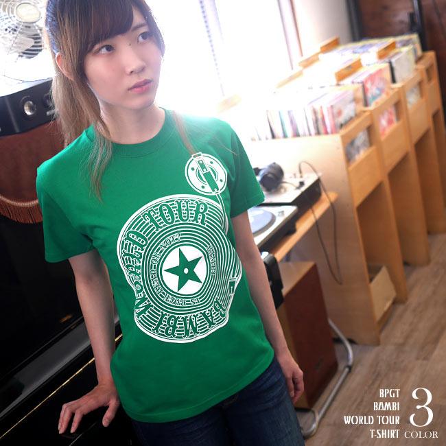 Bambi World Tour Tシャツ 半袖 トップス ROCK ロックTシャツ バンドTシャツ ライブ バックプリント アメカジ カジュアル メンズ レディース ユニセックス ファッション 大きめサイズ かわいい 可愛い プリント 綿100% グリーン ホワイト 白緑色 春夏秋 XXSMLサイズ デザイン おしゃれ Tシャツ屋さんバンビ