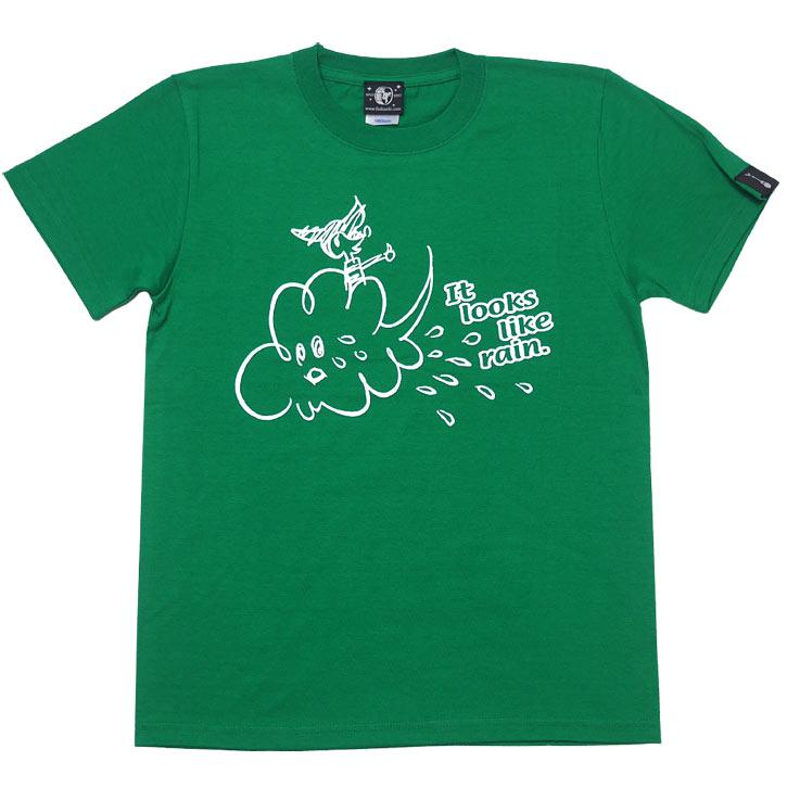 Rain Tシャツ グリーン ホワイト 半袖 白色 緑色 レイン 雨 あめ イラスト かわいい 可愛い ポップ キャラクター カジュアル メンズ レディース ペア ユニセックス 春夏秋服コーデ 大きめサイズ 綿100% XXSMLサイズ プリント デザイン おしゃれ オリジナル Tシャツ屋さんバンビ