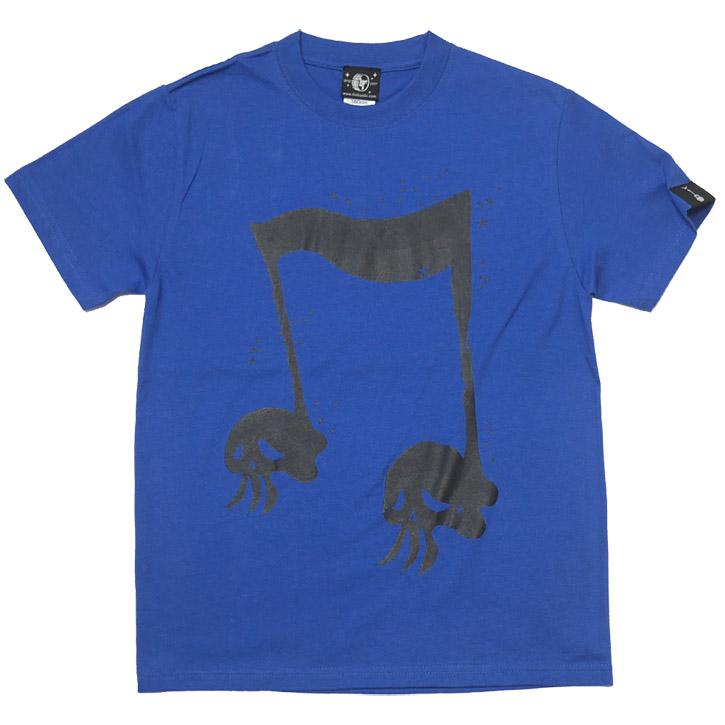 スカルオンプ2 Tシャツ ロイヤルブルー 半袖 ロックTシャツ ドクロ 髑髏 音楽 ROCK オリジナルデザイン アメカジ カジュアル オリジナル メンズ レディース ユニセックス 青色 春夏秋服コーデ かわいい 大きめサイズ XXSMLサイズ 通販 ショップ Tシャツ屋さんバンビ