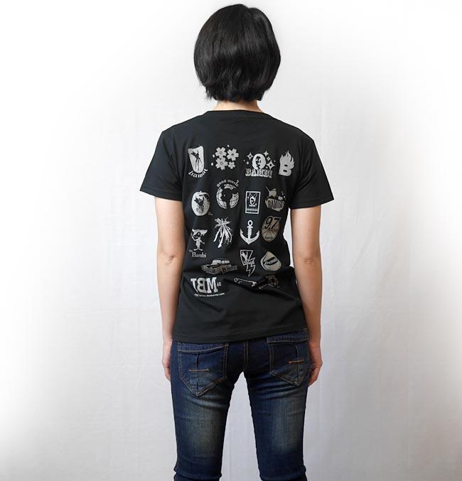ティラノ UネックTシャツ 半袖 黒色 ブラック カットソー かわいい イラスト 落書き 恐竜 ティラノザウルス カジュアル アメカジ