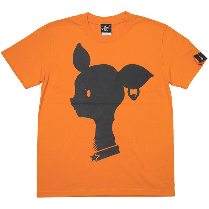 Bambi Mark Tシャツ ロイヤルブルー オレンジ 半袖 青色 橙色 ばんび 子鹿 アニマル ロゴマーク 可愛い かわいい オリジナル プリント アメカジ カジュアル メンズ レディース ユニセックス 春夏秋服コーデ 大きめサイズ XXSMLサイズ 通販 ショップ Tシャツ屋さんバンビ