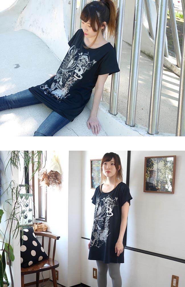小悪魔ガール Tシャツワンピース ワンピTシャツ 半袖 かわいい おしゃれ レディース ガールズ ブラック 黒 Mサイズ Uネック ゆったり Tシャツ屋さんバンビ
