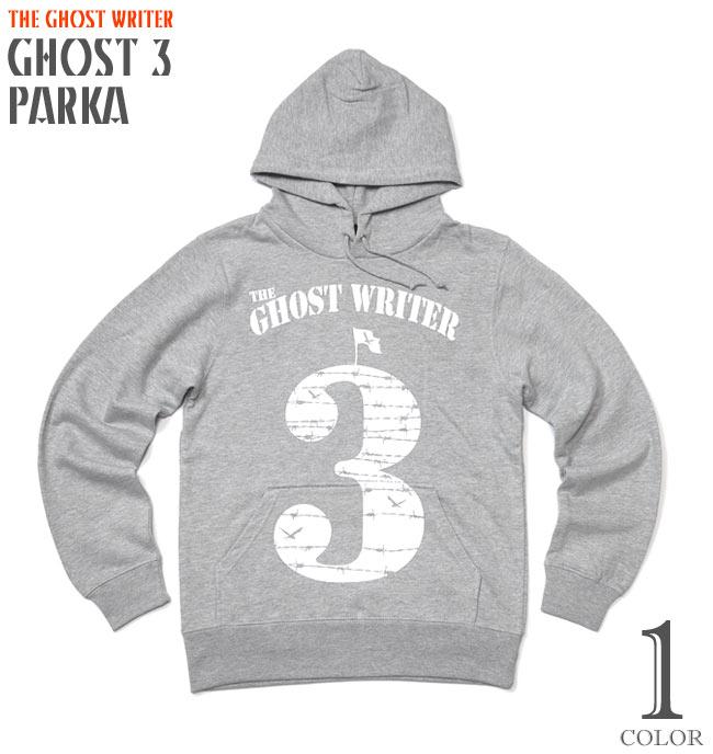 GHOST 3 フーデット ライトパーカー The Ghost Writer スウェット プルオーバー メンズ レディース ユニセックス ファッション 杢グレー 薄手 裏毛 長袖 大きいサイズ ROCK PUNK ロゴマーク パンキッシュ XSサイズ Sサイズ Mサイズ Lサイズ Tシャツ屋さんバンビ