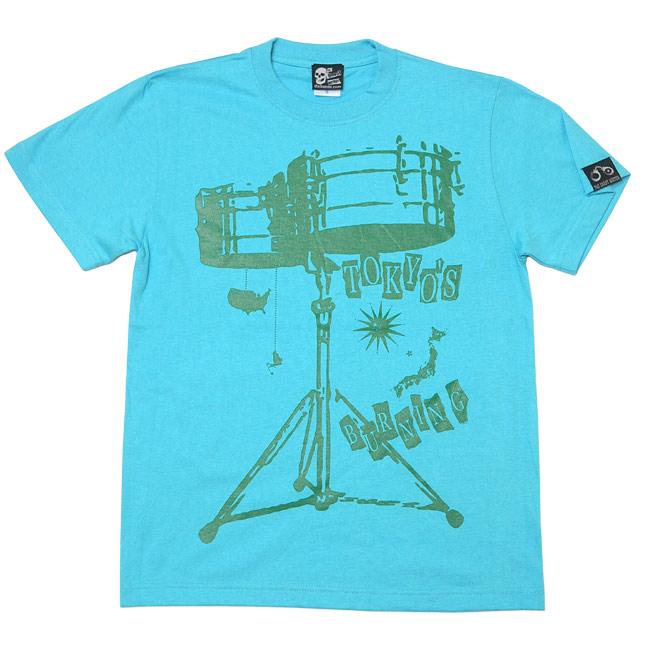 ワールドラム Tシャツ アクアブルー 半袖 ドラム バンドTシャツ ロックTシャツ アメカジ カジュアル デザイン メンズ レディース ユニセックス 大きいサイズ かっこいい おしゃれ 青 水色 Tシャツ屋さんバンビ XXS XS S M Lサイズ