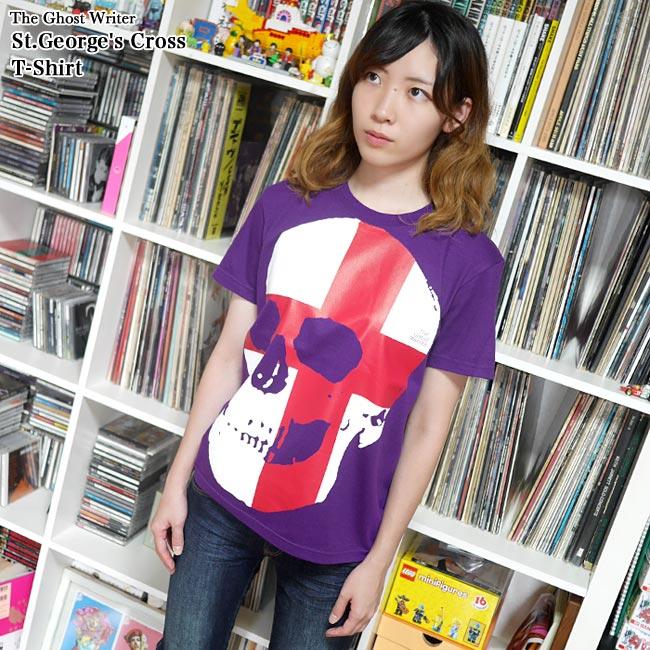 セント ジョージ クロス スカル Tシャツ 半袖 パンクロックTシャツ ドクロ 髑髏 イングランド 英国 十字旗 かっこい オリジナル メンズ レディース ユニセックス ファッション Tシャツ屋さんバンビ パープル 紫色 大きいサイズ  XXS XS S M Lサイズ