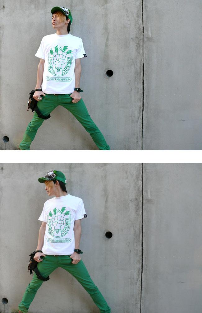 OTOKOGI KINDERGARTEN Tシャツ HARIKEN ハリケン キャラ イラスト 可愛い 男気 ロゴマーク カジュアル パンク ロック オリジナル コラボTシャツ メンズ レディース ユニセックス ブラック ホワイト 白黒 綿 半袖 ROCK PUNK POP 音楽 ミュージック XSMLサイズ 春夏秋冬服 かっこいい グラフィックデザイン Tシャツ屋さんバンビ