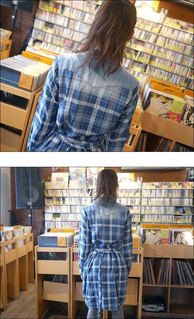 インディゴチェック シャツワンピース ブルー Nanea トップス ウエスタンシャツ 春秋冬コーデ 青色 Fサイズ Tシャツ屋さんバンビ