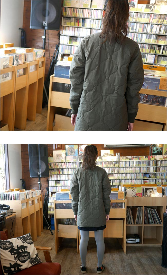 キルティング ジャケットコート カーキ Nanea トップス アウター 防寒 中綿入り ミリタリー カジュアル アメカジ 可愛い