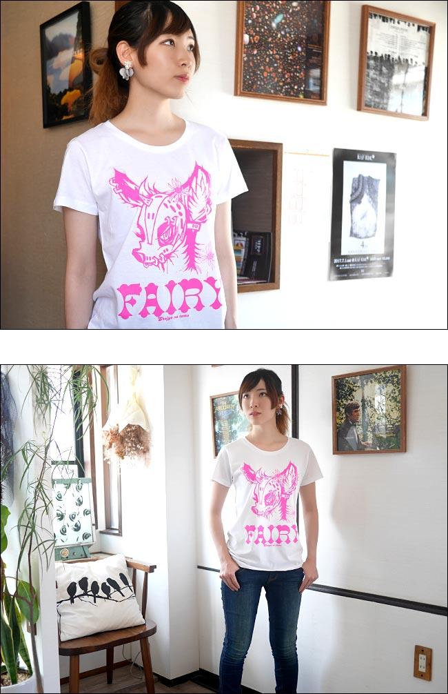 FAIRY フェアリー ガールズ UネックTシャツ pornoinvarders ポルノインベーダーズ 半袖 トップス カットソー プリント レディース 女の子 かわいい 可愛い ホワイト 白色 デザイン おしゃれ 春夏秋 Mサイズ Tシャツ屋さんバンビ