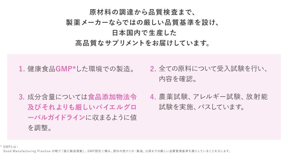 原材料の調達から品質検査まで、製薬メーカーならではの厳しい品質基準を設け、日本国内で生産した高品質なサプリメントをお届けしています。